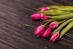 Tulipas cor-de-rosa no fundo preto Configuração lisa, vista superior arranjo roxo das tulipas de easter com espaço para o texto Foto de Stock
