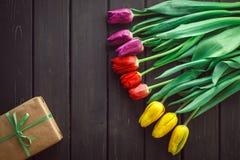 Tulipas da cor diferente no fundo de madeira Fotografia de Stock