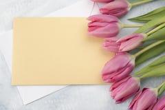Tulipas da Páscoa com cartão Fotografia de Stock Royalty Free