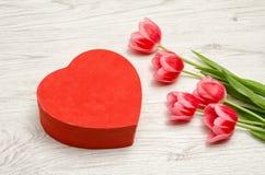 Tulipas dadas forma e cor-de-rosa do coração vermelho da caixa em um fundo de madeira claro Espaço para o texto Imagem de Stock Royalty Free