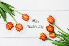 Tulipas e cartão feliz do dia de mães Imagens de Stock Royalty Free