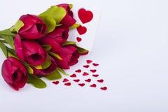 Tulipas e corações bonitos Fotografia de Stock