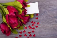 Tulipas e corações bonitos Imagem de Stock Royalty Free