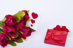 Tulipas e corações bonitos Fotos de Stock
