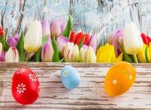 Tulipas e ovos da páscoa no fundo de madeira Fotos de Stock Royalty Free