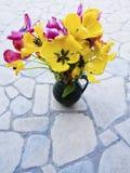 Tulipas orangey-amarelas decorativas Imagens de Stock Royalty Free