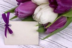 Tulipas roxas e brancas com Livro Branco em um fundo de madeira branco com o cartão para o texto O dia da mulher 8 de março Dia d Imagem de Stock