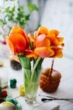 Tulipas vermelhas de florescência em um fundo de madeira branco Fotografia de Stock Royalty Free