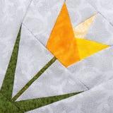 Tulipe de bloc de patchwork des morceaux de tissus photographie stock