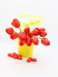 Tulipe de carte de jour de mères - photo courante Image stock