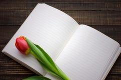 Tulipe et carnet vide ouvert Photos libres de droits