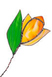Tulipe faite main en verre souillé d'orange d'isolement Photographie stock libre de droits