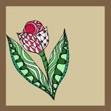 Tulipe peinte à la main sur un fond beige Photo stock