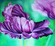Tulipe pourpre sur un fond vert Peinture : huile sur la toile illustration de vecteur