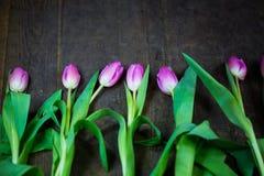 Tulipes avec des coeurs sur le fond en bois Photo stock