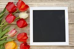 Tulipes avec le cadre de tableau noir vide de tableau sur un fond en bois Photo romantique Photo stock