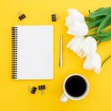 Tulipes blanches, carnet, stylo, agrafes avec la tasse de café sur le fond jaune Configuration plate, vue supérieure Photographie stock libre de droits