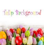 Tulipes colorées avec des oeufs de pâques sur la table en bois Photos libres de droits