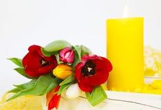 Tulipes colorées et lueur d'une bougie Images stock