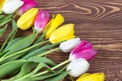 Tulipes colorées sur le fond en bois Jour de mères heureux Le printemps… a monté des feuilles, fond naturel Photos stock