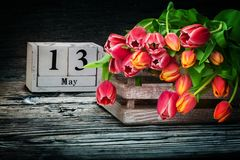 Tulipes dans une boîte en bois pour le jour du ` s de mère Image libre de droits