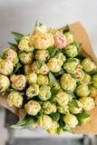 Tulipes de couleur jaune en pastel Grands bourgeons des tulipes multicolores Contexte naturel floral Photo remplie par tulipes bi Photo libre de droits