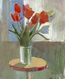 Tulipes de peinture à l'huile illustration libre de droits