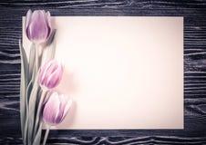 Tulipes de vintage avec la feuille de papier Image stock