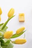 Tulipes et cadeau Photographie stock