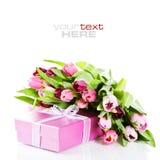 Tulipes et cadre de cadeau roses Photographie stock