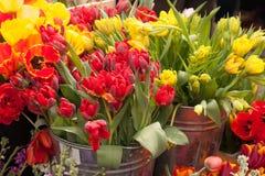 Tulipes et d'autres fleurs colorées sur l'affichage au marché d'agriculteurs Images libres de droits