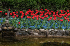 Tulipes et fleurs jardin de schez Sigurtà ' Photo stock
