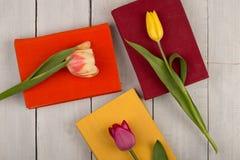 Tulipes et livres de fleurs sur une table en bois blanche Photos stock