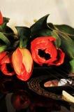 Tulipes et musique, symboles Photographie stock libre de droits