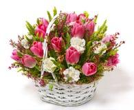 Tulipes et oeillets dans un panier photos libres de droits