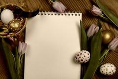 Tulipes et oeufs modifiés la tonalité de Pâques de fond Images stock