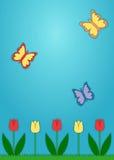 Tulipes et papillons de papier Photo stock