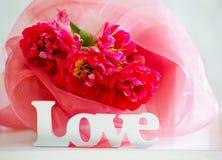 Tulipes et signage sensibles d'amour Photos libres de droits