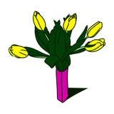 Tulipes jaunes dans un vase 0 Photo libre de droits