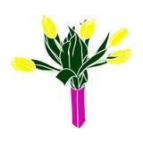 Tulipes jaunes dans un vase (aucun contour) 0 Photographie stock libre de droits