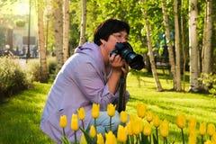 Tulipes jaunes de photographies d'une cinquantaine d'années de femme photos libres de droits