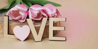 Tulipes roses avec AMOUR en bois de lettres Fond de Valentines Women& x27 ; jour de s Mother& x27 ; jour de s Fond de drapeau Photos libres de droits