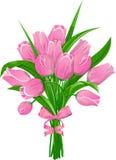 Tulipes roses avec le ruban Photo stock