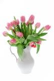 Tulipes roses dans un vase blanc Images stock