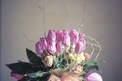 Tulipes roses de groupe Photos libres de droits