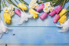 Tulipes roses et jaunes et fleurs et oeufs blancs de jonquilles Photos stock