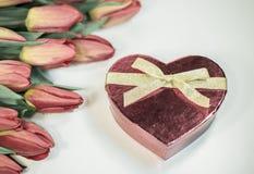 Tulipes rouges avec le cadeau de coeur d'isolement sur le fond blanc Photographie stock