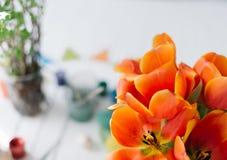 Tulipes rouges de floraison sur un fond en bois blanc Images stock