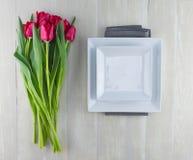 Tulipes rouges et plats carrés photographie stock libre de droits