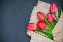 Tulipes rouges sur un fond noir Image libre de droits